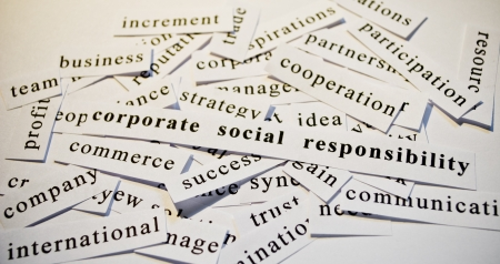 Corporate social responsibility, cut-out of words related with business  Stock fotó