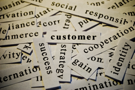 Customer, cut-out of words related with business  Stock Photo