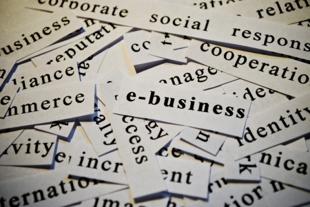E-business, cut-out of words related with business  photo
