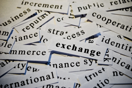 Exchange, cut-out of words related with business  photo