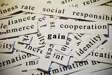 Gain, cut-out of words related with business  photo