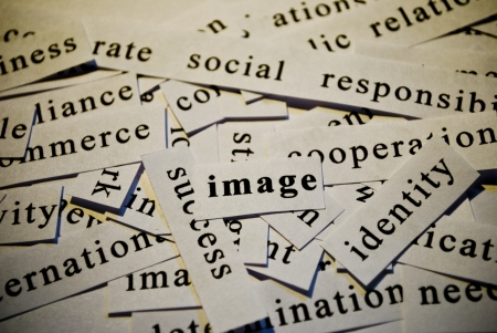 Image, cut-out of words related with business  photo