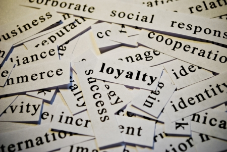 Loyalty, cut-out of words related with business  photo