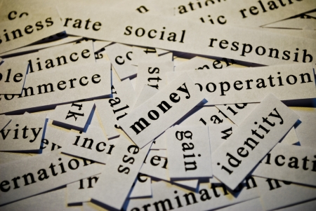 Money, cut-out of words related with business  photo