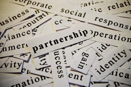 Partnership, cut-out of words related with business
