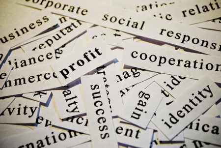 Profit, cut-out of words related with business  photo
