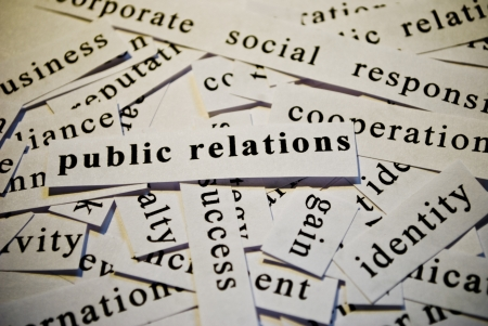 Public relations, cut-out of words related with business  photo