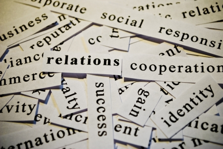 Relations, cut-out of words related with business  photo