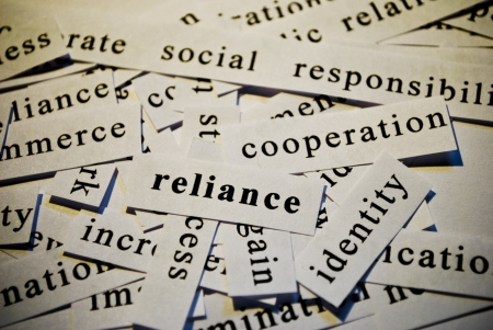 Reliance, cut-out of words related with business  Stock Photo - 17753283