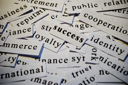 Success, cut-out of words related with business  photo