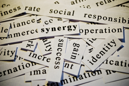 Synergy, cut-out of words related with business  photo
