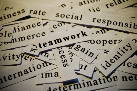 Teamwork, cut-out of words related with business