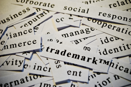 Trademark, cut-out of words related with business  photo