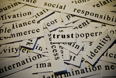 Trust, cut-out of words related with business  Stock Photo