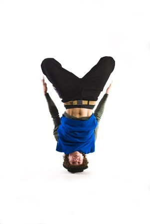 Break dancer rotating on head photo