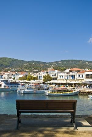 skiathos: Bench on Skiathos island, Greece Stock Photo
