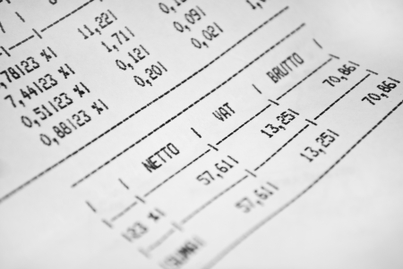 tax forms: Invoice sheet with prices and tax