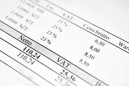 Invoice sheet with prices and tax