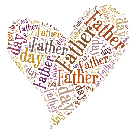 Tag or word cloud Father s day related in shape of heart