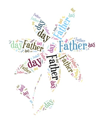 Tag or word cloud Father s day related in shape of flower Stock Photo