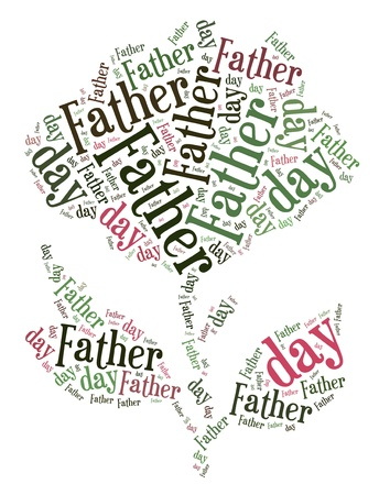 Tag or word cloud Father s day related in shape of rose flower Stock Photo - 20417168