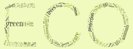 Tag or word cloud ecology related in shape of ECO phrase photo