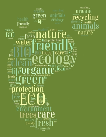 Tag or word cloud ecology related in shape of footprint photo