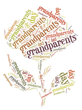 Tag or word cloud grandparents day related in shape of rose flower
