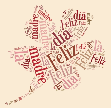Tag or word cloud Mother s day related in shape of flower with spanish translation Stock Photo - 20400610