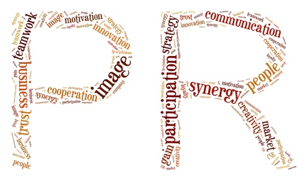 pr: Tag or word cloud business or PR related in shape of PR Stock Photo