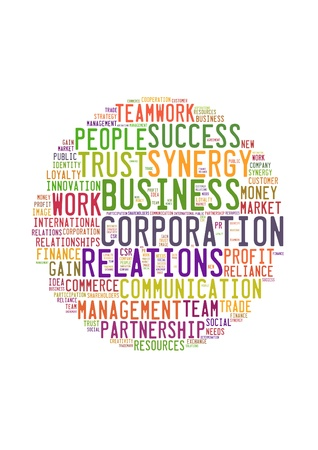 Tag or word cloud business related in shape of circle