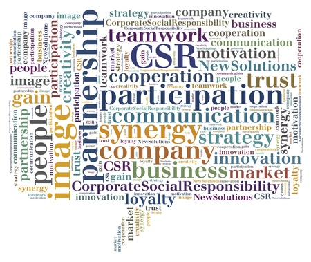 Tag or word cloud business related in shape of callout