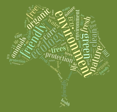 Tag or word cloud ecology related in shape of tree photo