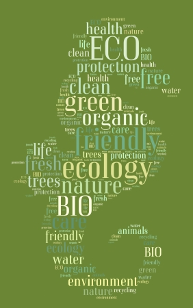 Tag or word cloud ecology related in shape of seahorse photo