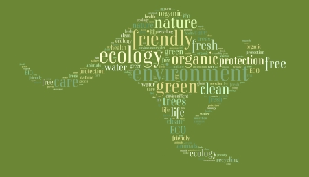 Tag or word cloud ecology related in shape of cangaroo photo