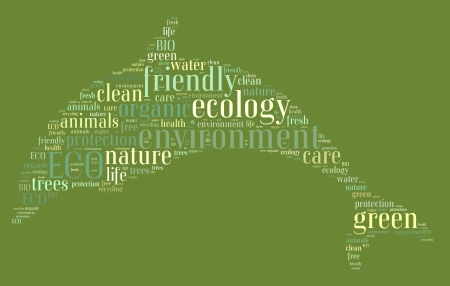 Tag or word cloud ecology related in shape of dolphin photo