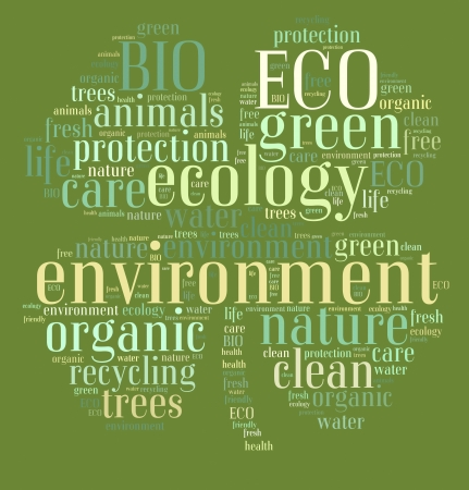 Tag or word cloud ecology related in shape of clover photo