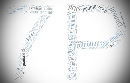axiom: Tag or word cloud marketing mix conception related in shape of 7P