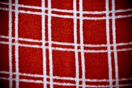 Red and white square checked material background or texture photo