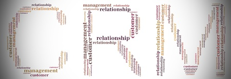 Tag or word cloud customer relationship management related in shape of CRM photo