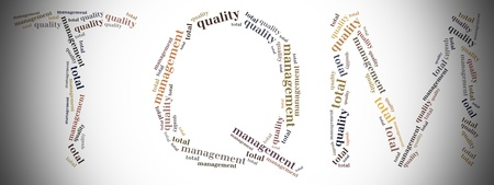 Tag or word cloud total quality management related in shape of TQM photo