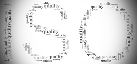 Tag or word cloud quality management related in shape of TQM photo