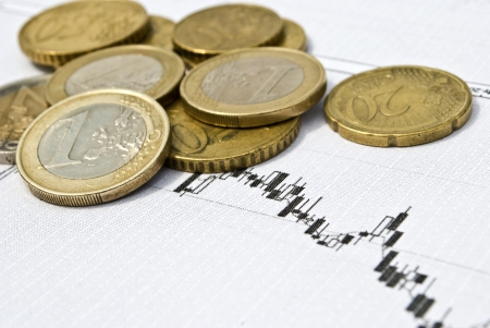 Euro coins and stock chart as currency exchange concept photo