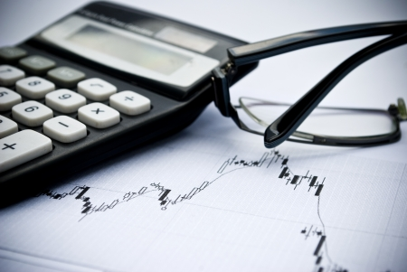 Chart, calculator, glasses as financial stock analysis concept