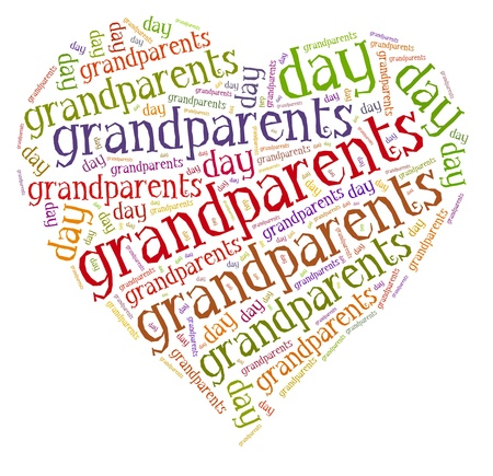 grandparents: Tag or word cloud national grandparents day related in shape of hearth Stock Photo