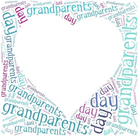 abuelos: Tag o nube de palabras relacionadas nacional d�a de los abuelos en forma de coraz�n marco con el lugar en blanco para el texto o la foto Foto de archivo