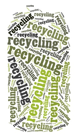 Tag or word cloud recycling related in shape of metal can photo