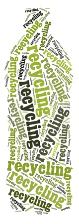 Tag or word cloud recycling related in shape of pet plastic bottle photo