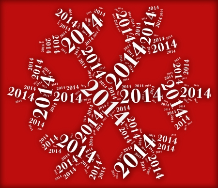 Tag or word cloud new year eve related in shape of snowflake