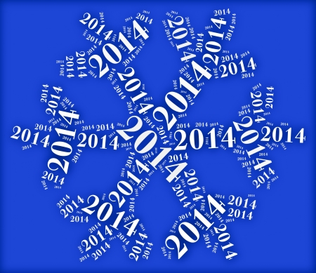 Tag or word cloud new year eve related in shape of snowflake photo